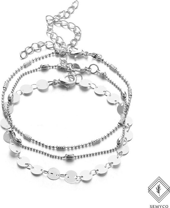 ® Enkelbandjes Ibiza zilver - 3 laags - Verpakt in luxe geschenkdoosje