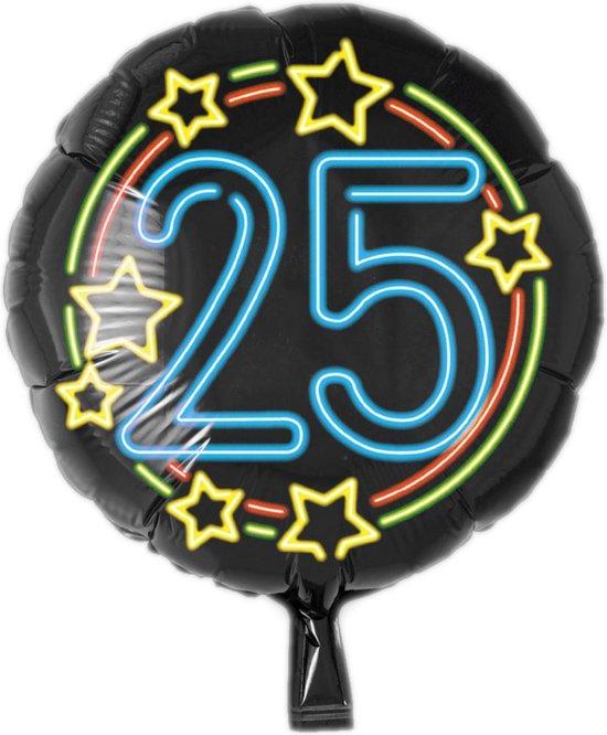 Folieballon - 25 Jaar - Neon - 43cm - Zonder vulling
