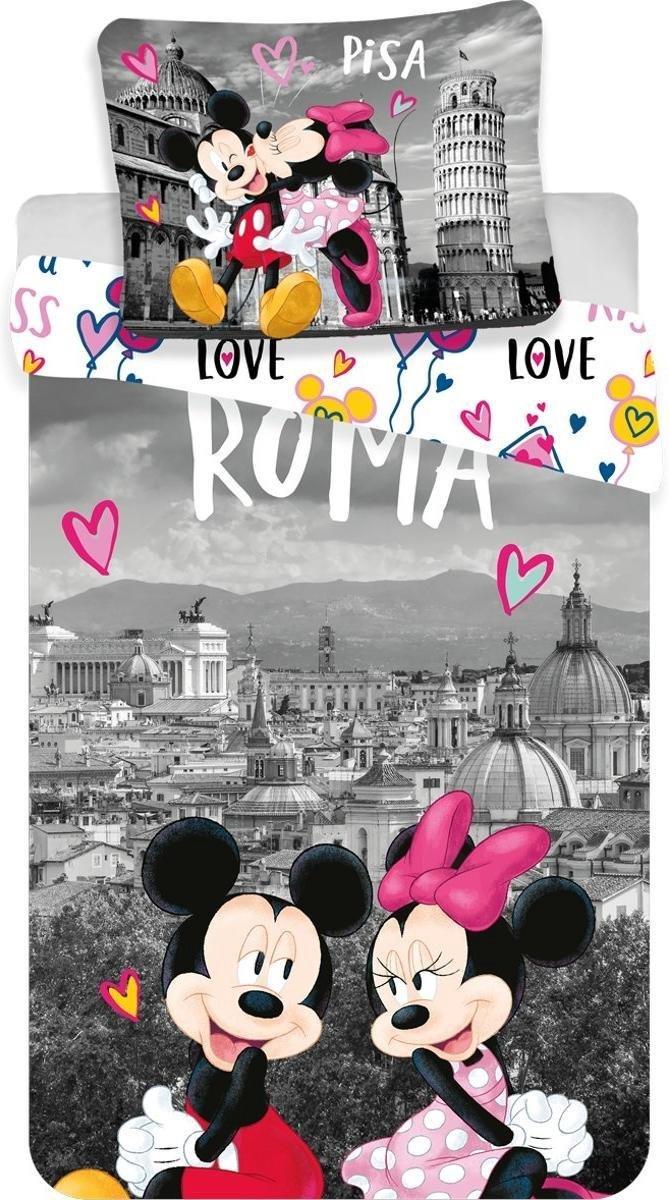 Dekbedovertrek- Disney Minnie Mouse Roma Love- Eenpersoons-  140x200 cm - Multi kopen