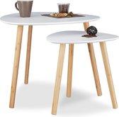 Relaxdays Bijzettafel set van 2 - Scandinavisch design wit - Hout - 60x40 cm en 40x40 cm