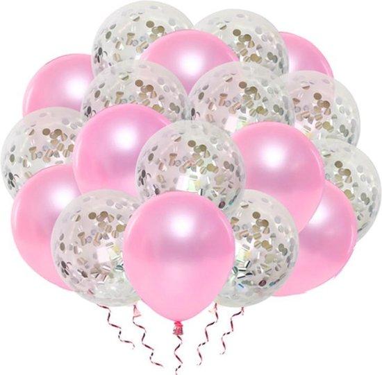 Luxe confetti ballonnen|roze/goud |20 stuks|Helium ballonnenset