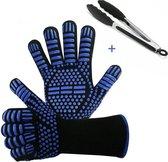Hittebestendige Barbecue Handschoen – 2 Stuks - Incl. Tang - Tot 250 ℃ - N407 Gecertificeerd – Ovenwanten – Blauw