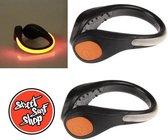 2 stuks LED Shoe Clip oranje met extra SSS sticker