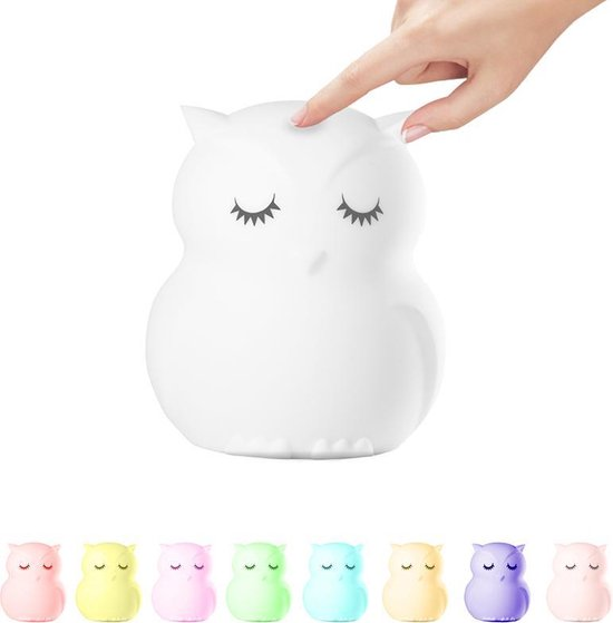 Kids Castle meerkleurig LED Nachtlampje Uil - Accu - Oplaadbaar