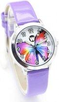 Meisjes horloge paars met Vlinder afbeelding en leer bandje