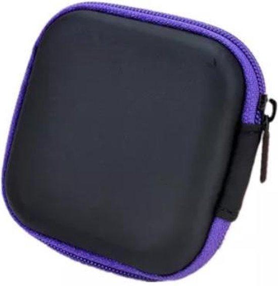 Oortjes opberg hoesje - Case - Etui - Organizer - Voor oordopjes en laadkabels - USB - Paars