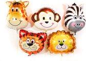 Jungle Decoratie Set van 5 grote Dieren ballonnen Versiering voor eerste verjaardag, kinderfeestje, themafeest. Ballon safari tijger, leeuw, zebra, aap en giraf folieballonnen