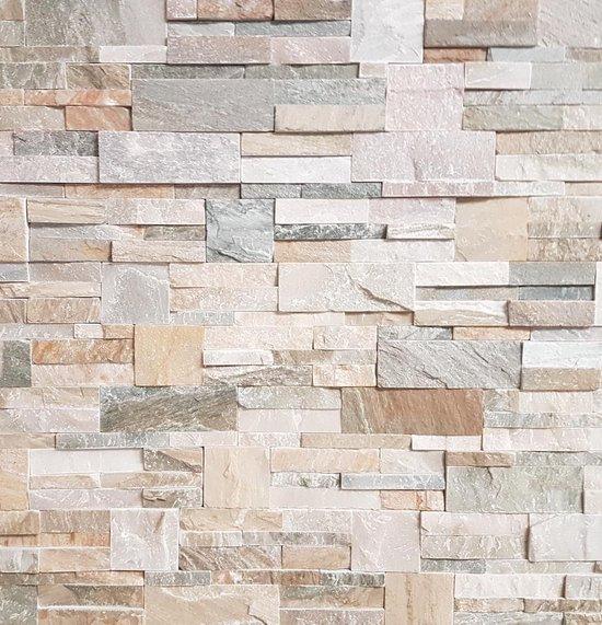 Linea Uno - Steenstrip Froland - Creme / Wit / Groen- Echt natuursteen - Muurbekleding - Sierstrips - 514002