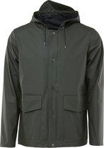 Rains Short Hooded Coat 1826 Regenjas Unisex - Groen - Maat XS