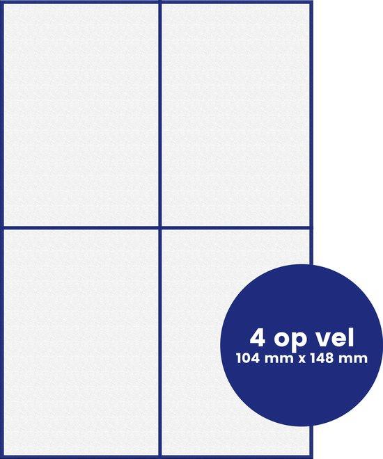 A4 zelfklevende, stickervellen, print etiketten, 4 per vel, 104 mm x 148 mm, 100 vellen, 400 stickers, wit