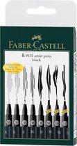 Tekenstift Faber Castell Pitt Artist Pen kleur 199 zwart 8 stuks