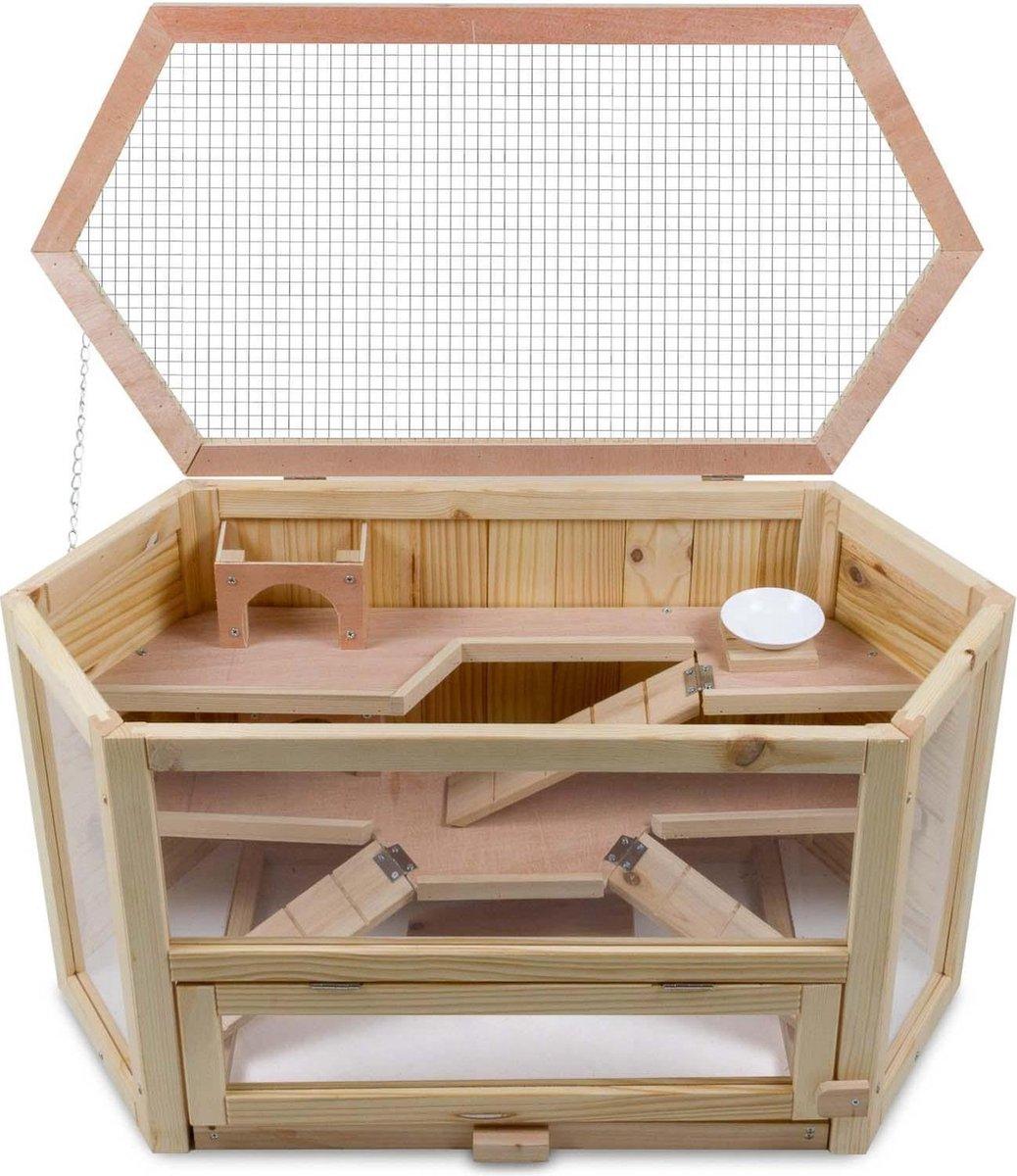 4animalz 3 laags houten Hamsterkooi/muizenkooi 80x40x43cm - zeshoekig