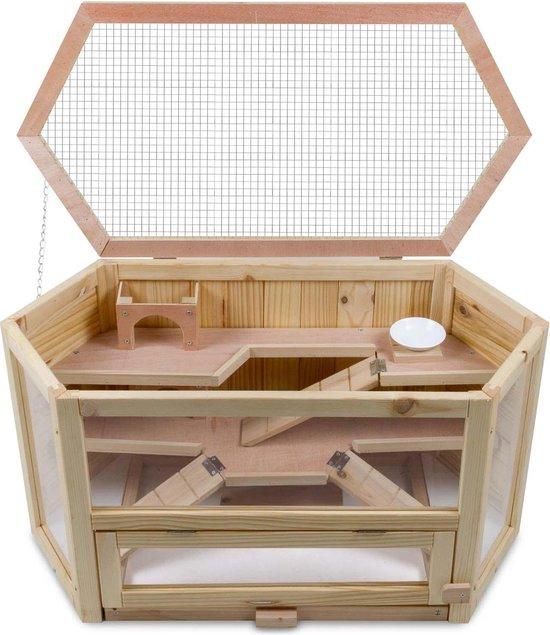 4animalz 3 laags houten Hamsterkooi - 80x40x43cm - zeshoekig