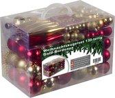 Kunststof Kerstballen - set 130 ballen piek parelsnoer - Goud/Bordeaux