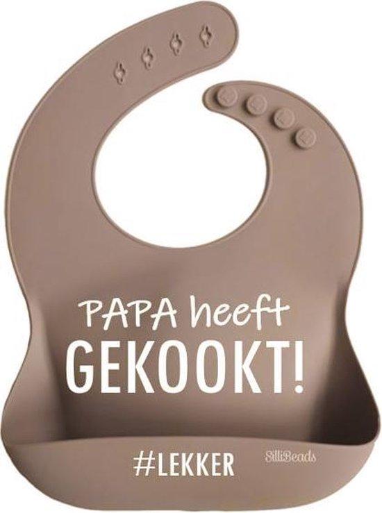 Slabbetje met opvangbakje - Papa heeft lekker gekookt #lekker / Warm Taupe (SILICONE BIBS)