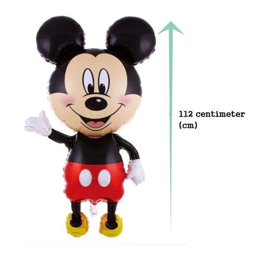 Opblaasbare Disney Mickey Mouse vorm ballon - 2 stuks - 112 cm hoog - Inclusief Gratis opblaasrietje