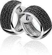 ZINZI zilveren oorringen 17 x 6,5mm zwart ZIO506Z