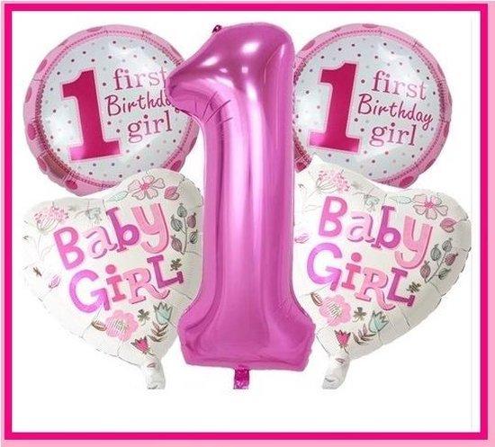 Ballonnen Set - 1e Verjaardag - 5 stuks - Meisje