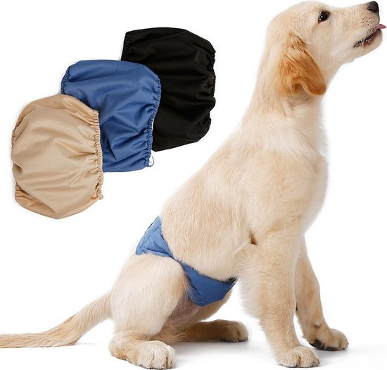 Honden buikband - luier voor mannelijke hond reu - plasband - wasbaar - SMALL - BEIGE