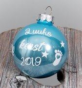 1e Kerstbal met Naam - Blauw - 6 cm - eerste kerst - baby - december - TIP - wit