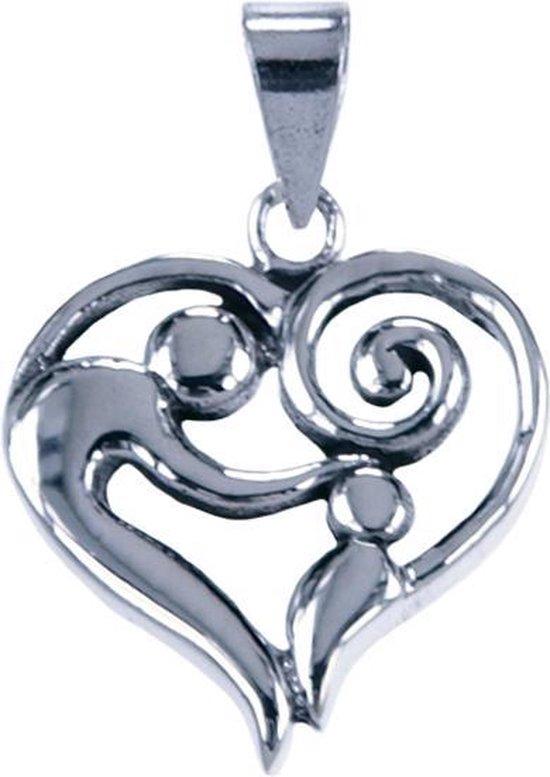 Zilveren Moeder en kind in hart ketting hanger - groot