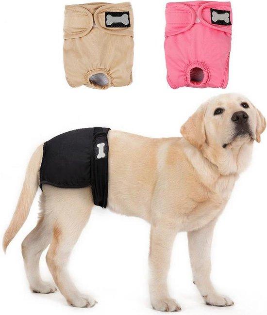 Hondenbroekje - loopsheid - menstruatie - maandstonden of na operatie - wasbaar - PINK - MEDIUM