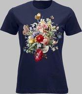 T-shirt V Bloemen en vlinders - Darknavy - S