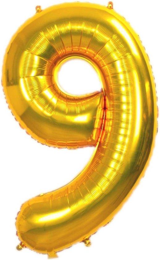 Folie Ballon Cijfer 9 Jaar Goud 86Cm Verjaardag Folieballon Met Rietje
