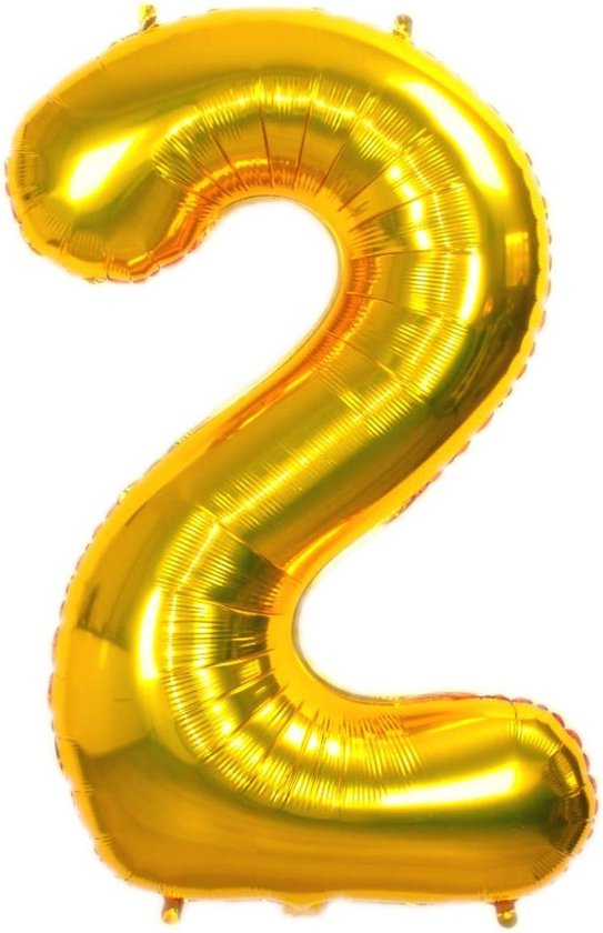 Folie Ballon Cijfer 2 Jaar Goud 86Cm Verjaardag Folieballon Met Rietje