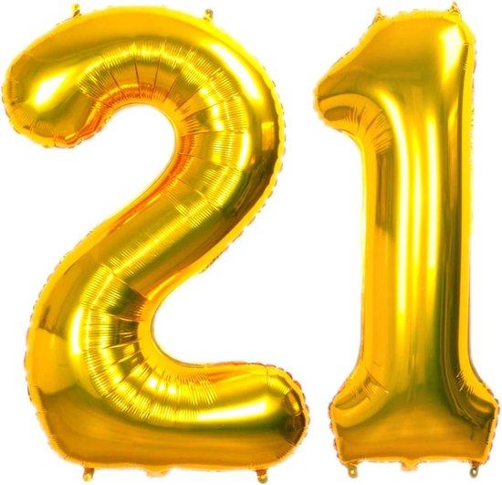 Folie Ballon Cijfer 21 Jaar Goud 86Cm Verjaardag Folieballon Met Rietje
