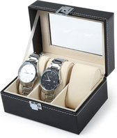 Luxe Horloge Box - Geschikt voor 3 horloges - Zwart - 11 cm x 15 cm - Fluweel Kunstleer
