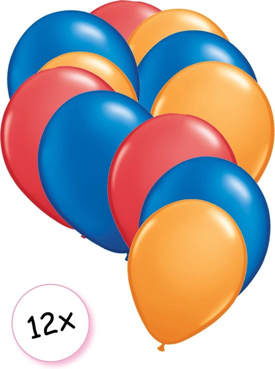 Ballonnen Rood, Blauw & Oranje 12 stuks 27 cm