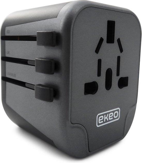 EKEO - Universele Wereldstekker - Reisstekker met 2 Quick USB Poorten - 2000 Watt - 150+ landen - Zwart