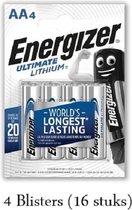 16 stuks (4 blisters a 4 stuks) Energizer Lithium AA/L91 1.5V 4pack
