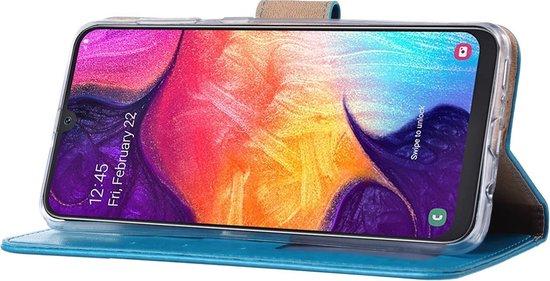 Samsung Galaxy A50 telefoon hoesje met pasjeshouder - Turquoise Met 2 stuks Glazen screenprotector - van Bixb