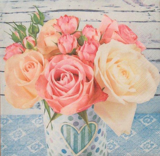 Servetten Roses on Blue 33 x 33 cm