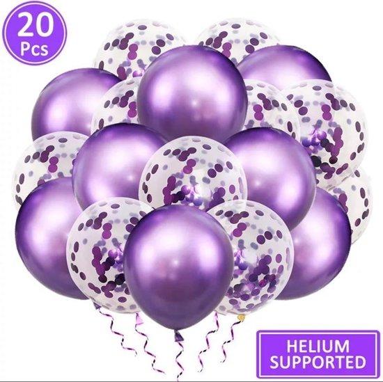 Luxe confetti ballonnen|metallic paars|20 stuks|Helium ballonnenset