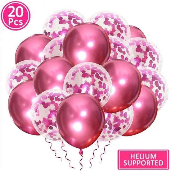 Luxe confetti ballonnen|metallic roze|20 stuks|Helium ballonnenset