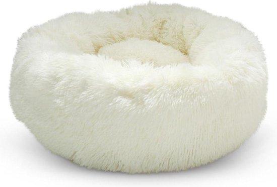 Snoozle Kattenmand - Superzacht en Luxe - Fluffy - Rond - Wasbaar - Poezenmand - 70cm - Wit