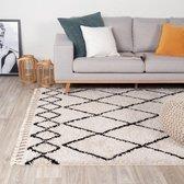 Hoogpolig vloerkleed - Grand Diamond Weave Creme/Zwart 80x150cm