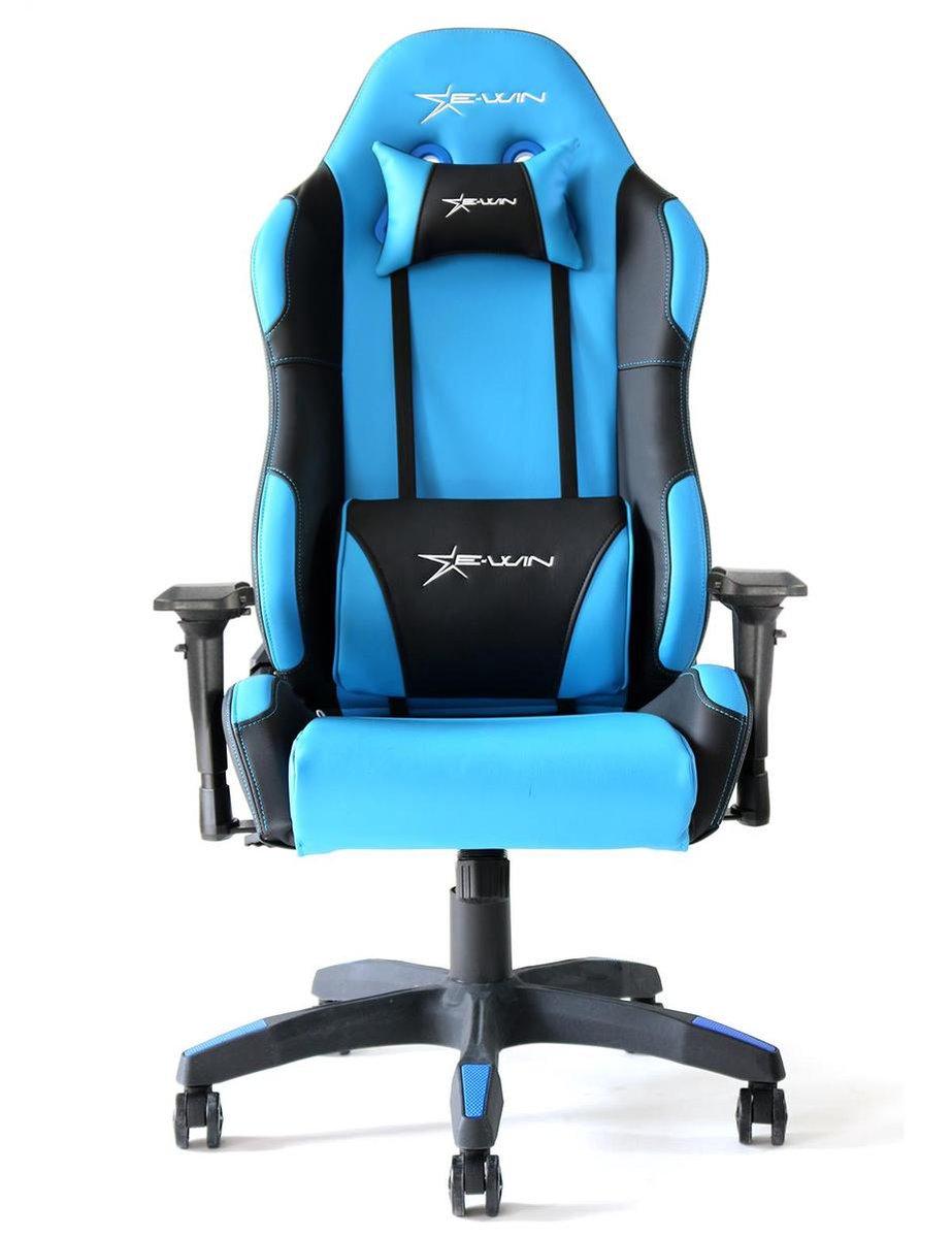E-win Gamestoel, Gaming Chair, Gaming Bureau, Calling Series Ergonomic Gaming Chair, blauw/ Zwart