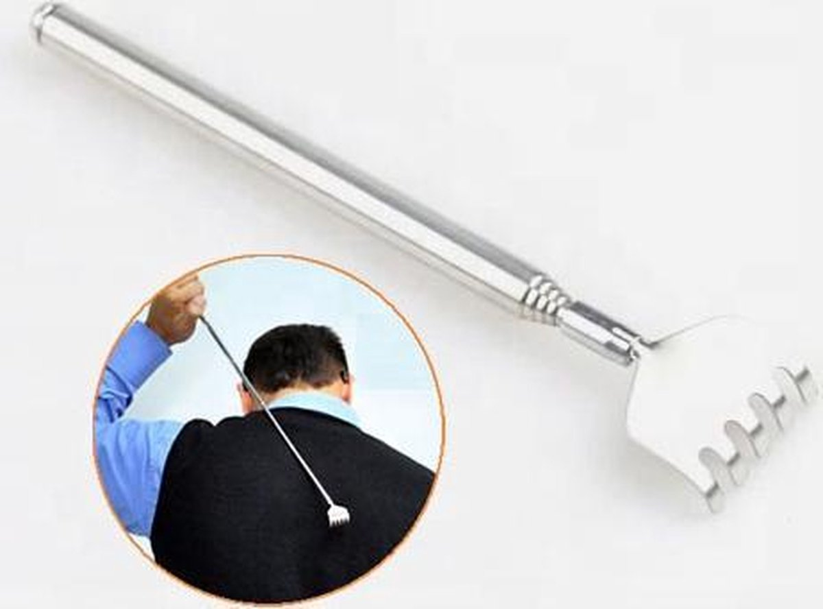 Ruggenkrabber uitschuifbaar   Rugkrabber RVS - 16 cm - uitschuifbaar tot 51 cm   Dode huid verwijder