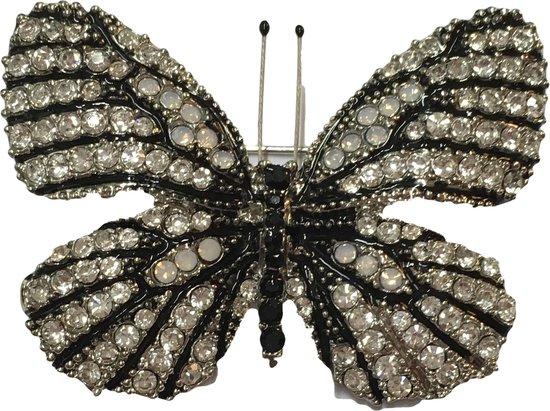 Petra's Sieradenwereld - Broche vlinder zwart wit met strass steentjes (065) - Petra's Sieradenwereld