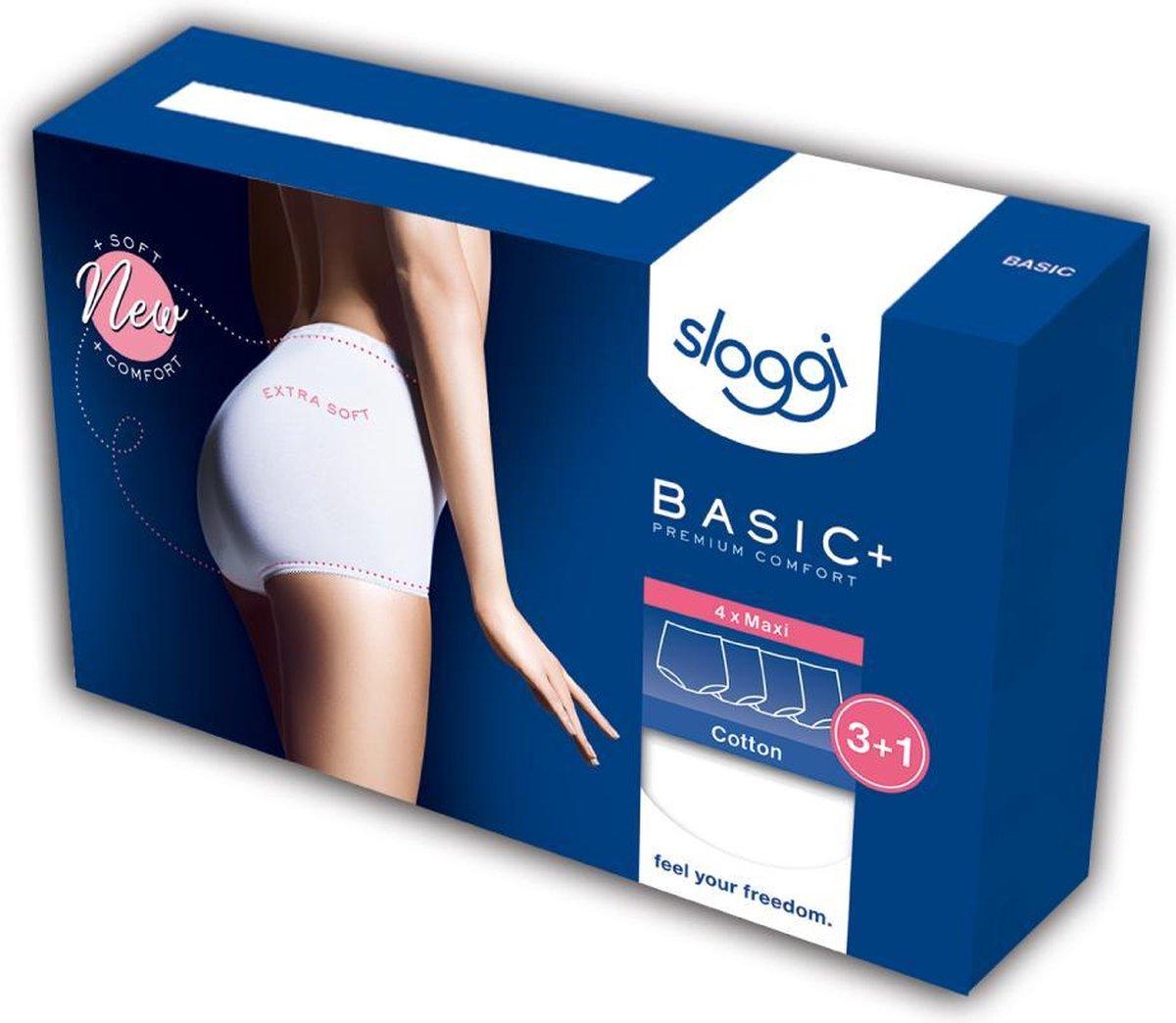 Sloggi Women Basic Maxi, dames maxi slip (4-Pack), wit -  Maat: 58