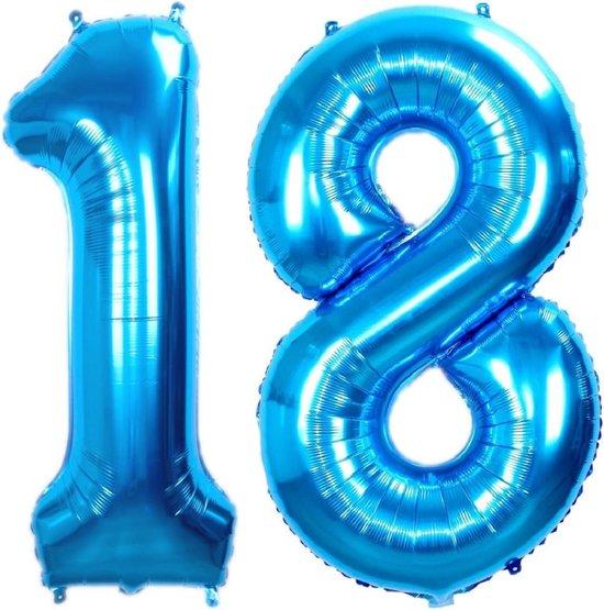 Ballon Cijfer 18 Jaar Blauw 86Cm Verjaardag Folieballon Met Rietje