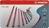 STABILO Pen 68 50 Viltstiften - Metalen Etui