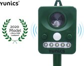 YUNICS ® Ultrasone Kattenverjager - Marterverjager - Oplaadbaar door zonne-energie en micro USB. Incl. Micro USB kabel
