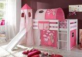 Half-hoogslaper paard/kasteel roze met glijbaan wit gelakt incl. de voorhangtent onder het bed