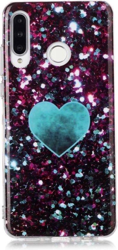 Let op type!! Voor Huawei P30 Lite gekleurd tekening patroon IMD vakmanschap zachte TPU beschermende case (groene liefde)
