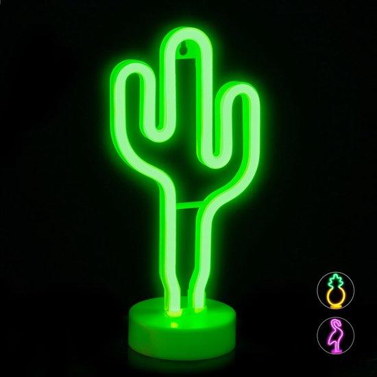 relaxdays neonlamp led - nachtlampje - neon tafellamp - tafeldecoratie - neon lamp Cactus